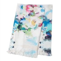 colorful watercolor throw blanket fringe