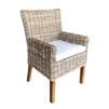 soft gray wicker dining arm chair mahogany legs