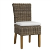 Padma's Plantation Kubu Woven Grey Wicker Dining Chair White Cushion Seat