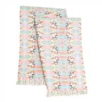 pastel pattern aqua pink faux chenille throw blanket machine wash USA made