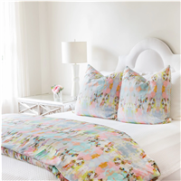 water colors abstract patterns duvet pillow sham pink teal