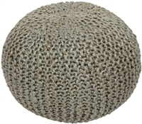 Knitted Pouf Jute Ottoman Light Gray