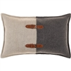 lumbar pillow gray taupe leather buckles