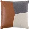 square gray taupe and brown leather accent pillow