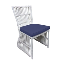 white rattan dining chair navy seat cushion