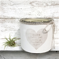 scented candle two wicks heart begin grateful heart