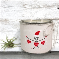 scented candle two wicks santa red hearts