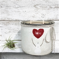 scented candle two wicks snowman red love heart