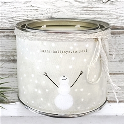scented candle two wicks snowman snow happy holidays