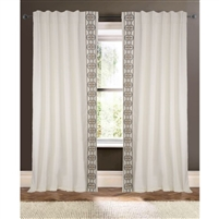 ivory detailed curtain drapery panels