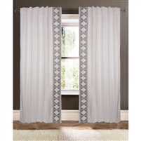 ivory triangle trim curtain drapery panels