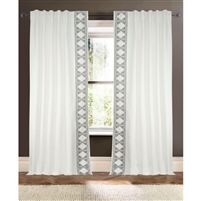 white triangle trim curtain drapery panels