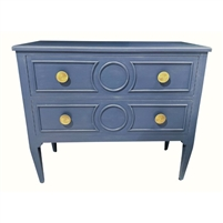 blue chest brass hardware drawers