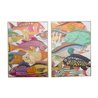 set 2 colorful fish oil paintings gold frames