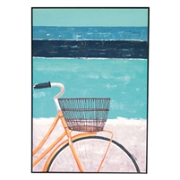 oil painting bicycle blue