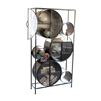 iron glass shelf unit round compartments circles