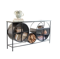 iron glass circles console table