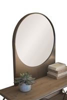 antiqued brass finish metal wall mount round mirror square bottom