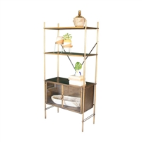 brass finished shelf unit lower glass doors