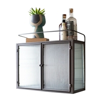 wall cabinet metal frame corrugated glass double doors
