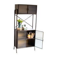 metal shelf unit open corrugated glass doors