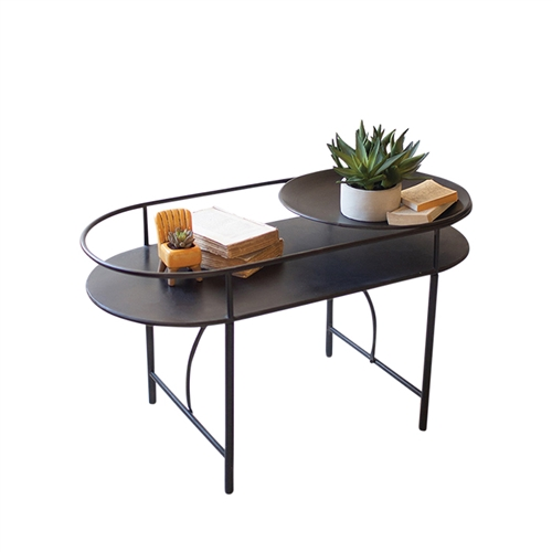 black metal oval accent table bowl modern
