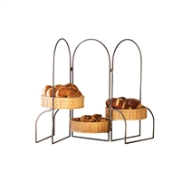 folding triple baskets round display serving rack