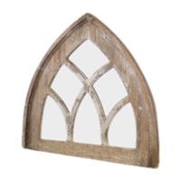Church Mirror White Washed Short Gothic Distressed