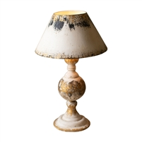 table lamp distressed wood base metal shade