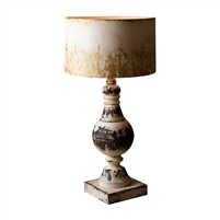 metal table lamp distressed rustic black white base gold shade