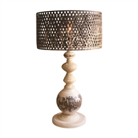 table lamp wood base distressed metal perforated cage shade rustic