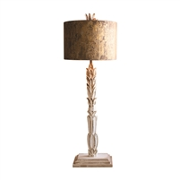 tall table lamp carved wood base distressed white metal shade rustic gold multi-finishes