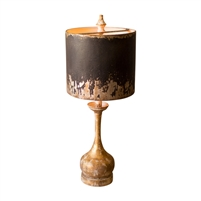 table lamp wood base distressed metal black gold shade rustic