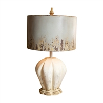 table lamp distressed white wood base weathered grey metal barrel shade