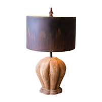 table lamp natural wood whitewash carved metal drum shade rustic