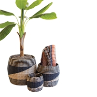 set 3 black natural round seagrass baskets