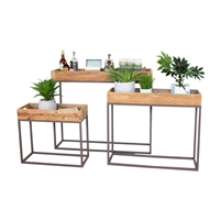 set 3 rustic reclaimed wood tray console tables metal bases