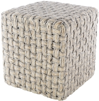 square cube pouf neutral light gray cream woven wool