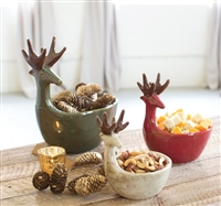 Ceramic Deer Bowls (3) - Unique Christmas & Holiday Décor