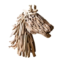 horse head sculpture driftwood