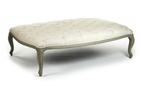 Zentique ottoman coffee table rectangle birch olive green cotton off-white tufted cabriole legs