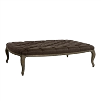 ottoman coffee table rectangle oak limed gray cabriole legs aubergine purple tufted linen