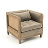 chair wood frame burlap jute tufting back pillow nail tacks taupe