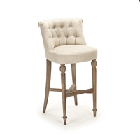 Luxury Designer Tufted Bar Stool - Amelie - Limed Oak - Rolled Back