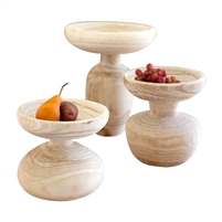 set 3 natural wood turned pedestals