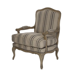 chair French provincial wood recycled oak cabriole legs padded armrests khaki blue stripe linen