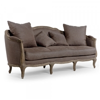 sofa eight legs oak limed aubergine linen toss pillows French one cushion