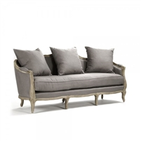 sofa eight legs oak limed gray linen toss pillows French one cushion