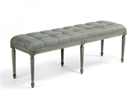 bench rectangle carved wood birch sage green linen tufted six legs