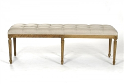 bench rectangle carved wood oak natural linen tufted six legs